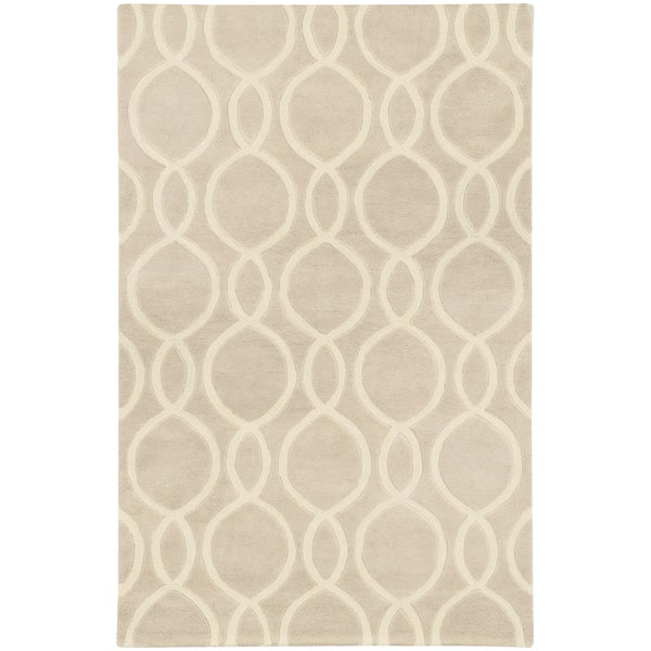Hand-crafted Wool Oval Lattice Beige/ Ivory Rug (2'6 x 8')