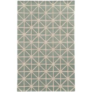 Hand-crafted Wool Triangle Grid-work Grey/ Ivory Rug (2'6 x 8')