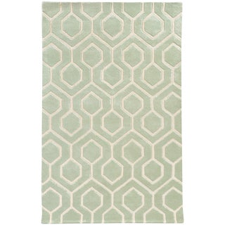 Hand-crafted Wool Geometric Odgee Green/ Ivory Rug (2'6 x 8')