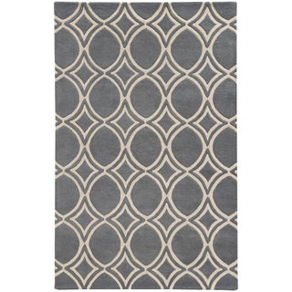 Hand-crafted Wool Oval Highlights Charcoal/ Ivory Rug (2'6 x 8')