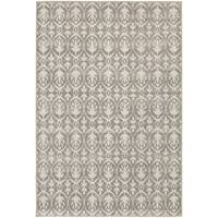 StyleHaven Distressed Leaves Grey/Ivory Indoor-Outdoor Area Rug - 9'10 x 12'10