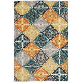 Floral Panel Multi-colored/ Blue Rug (9'10 x 12'10)