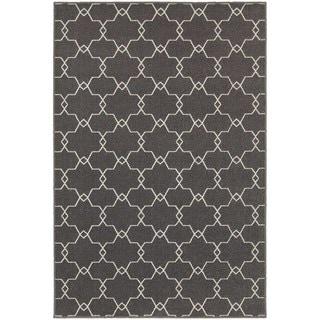 Geometric Trellis Grey/ Ivory Rug (9'10 x 12'10)