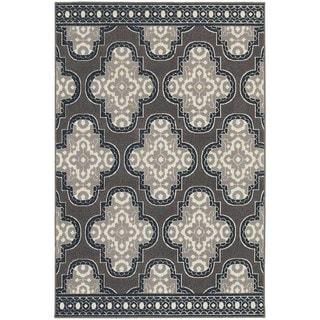 StyleHaven Quatrefoil Grey/Navy Indoor-Outdoor Area Rug (9'10x12'10)