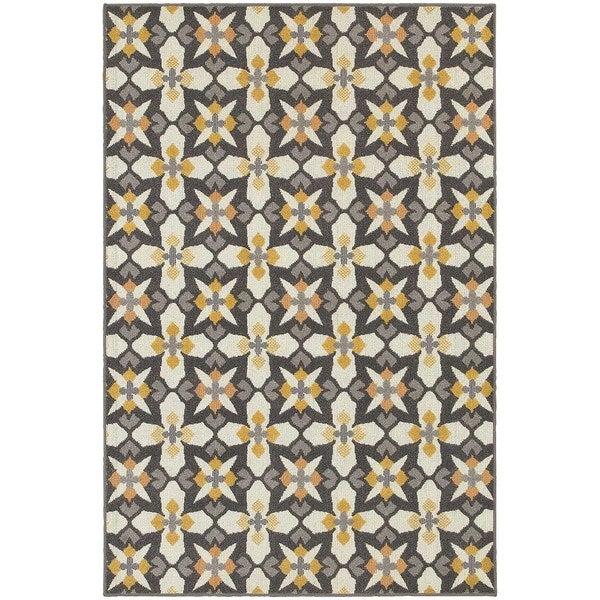 Stylehaven Panel Grey Gold Indoor Outdoor Area Rug 9 10x12 10 9