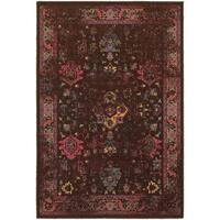 Traditional Distressed Overdyed Persian Brown/ Multi-colored Rug - 10' x 13'