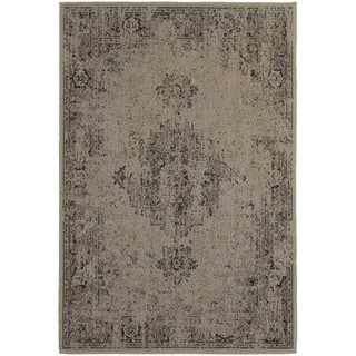 Traditional Distressed Overdyed Persian Grey/ Charcoal Rug (9'10 x 12'10)