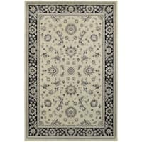 """Bordered Traditional Persian Ivory/ Navy Rug (9'10 x 12'10) - 9'10"""" X 12'10"""""""