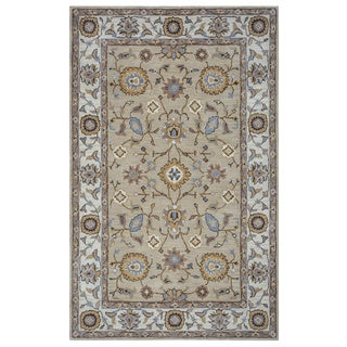 Arden Loft Hand-tufted Beige Central Medallion  Crown Way Collection Wool Area Rug (2' 6 x 8')
