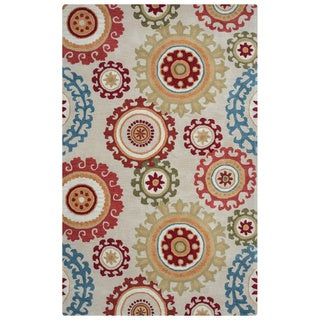 Arden Loft Hand-tufted Beige Scroll  Crown Way Collection Wool Area Rug (5' x 8')