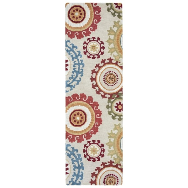 Arden Loft Hand-tufted Beige Scroll  Crown Way Collection Wool Area Rug (2'6 x 10')