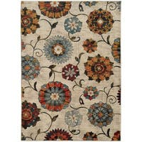 Largescale Floral Ivory/ Multi-colored Rug - 9'10 x 12'10