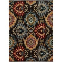 Bold Floral Charcoal/ Multi-colored Rug - 9'10 x 12'10