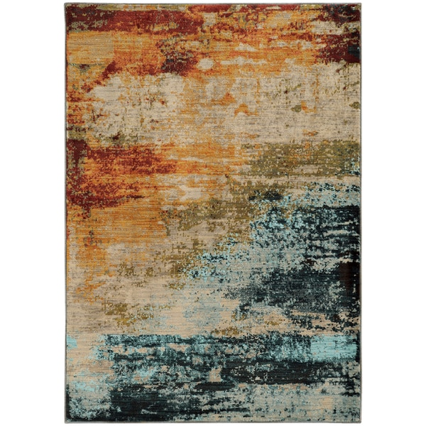 Eroded Abstract Blue Red Rug 9 10 X 12 10 17661475