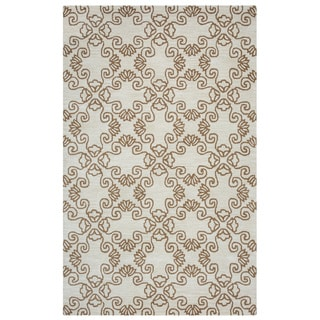 Arden Loft Hand-tufted Natural Scroll Crown Way Collection Wool Area Rug (8' x 10')