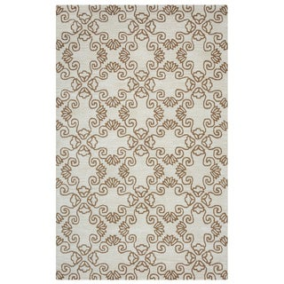 Arden Loft Hand-tufted Natural Scroll Crown Way Collection Wool Area Rug (2'6 x 8')
