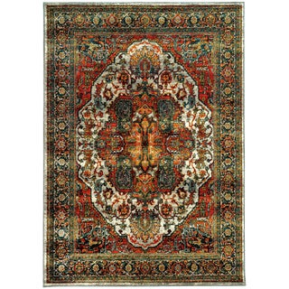 Old World Persian Red/ Multi-colored Rug (9'10 x 12'10)