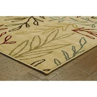 Line Drawn Leaf Ivory/ Multi-colored Rug (9'10 x 12'10)