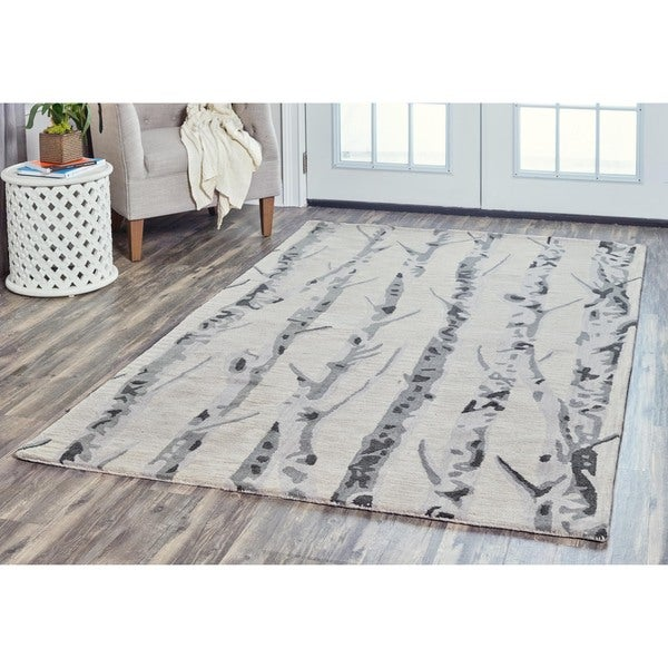 Arden Loft Hand-tufted Natural Paint Splatter  Crown Way Collection Wool Area Rug (10' x 14')