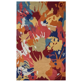 Arden Loft Hand-tufted Gold Paint Splatter Crown Way Collection Wool Area Rug (2'6 x 8')