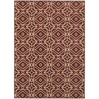 Diamond Geometric Red/ Ivory Rug (9'10 x 12'10)