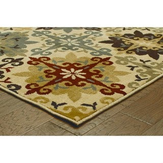 Floral Cross Panel Ivory/ Multi-colored Rug (9'10 x 12'10)