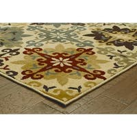 Floral Cross Panel Ivory/ Multi-colored Rug - 9'10 x 12'10