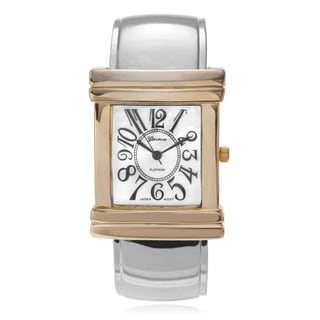 Geneva Platinum Women's Mother of Pearl Dial Cuff Watch