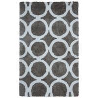 Arden Loft Hand-tufted Grey Geometric Danbury Crossing Collection Microfiber Area Rug (8' x 10')