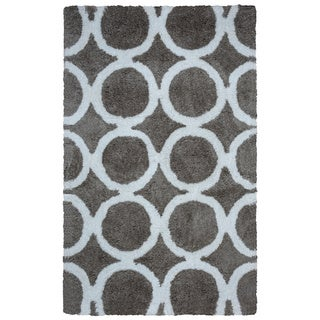 Arden Loft Hand-tufted Grey Geometric Danbury Crossing Collection Microfiber Area Rug (2'6 x 8')