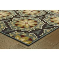 Floral Panel Blue/ Brown Rug (9'10 x 12'10)