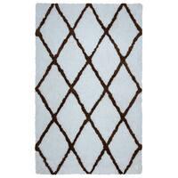 Arden Loft Hand-tufted Ivory Geometric Danbury Crossing Collection Microfiber Area Rug (8' x 10') - 8' x 10'