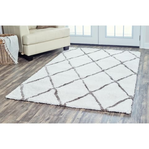 Arden Loft Hand-tufted Ivory Solid Danbury Crossing Collection Microfiber Area Rug (9' x 12') - 9' x 12'