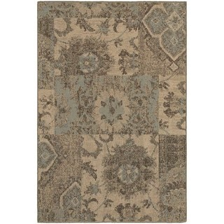 Distressed Patchwork Tan/ Blue Rug (9'10 x 12'10)