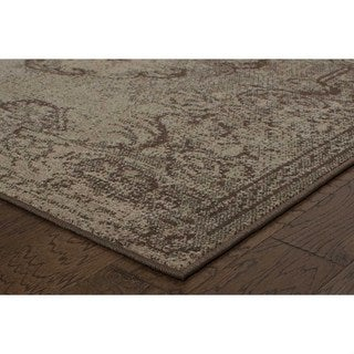 Shabby Chic Oriental Tan/ Brown Rug (9'10 x 12'10)