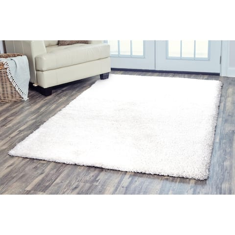 Arden Loft Hand-tufted Ivory Solid Danbury Crossing Collection Microfiber Area Rug (8' x 10') - 8' x 10'