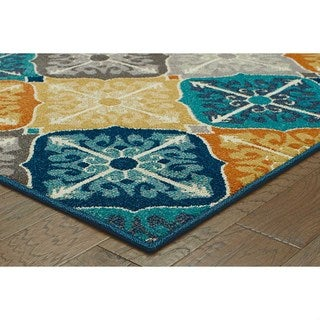 Floral Panel Multi-colored/ Blue Rug (7'10 x 10'10)
