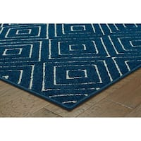 "StyleHaven Diamond Navy/Ivory Indoor-Outdoor Area Rug (7'10x10'10) - 7'10"" x 10'10"""