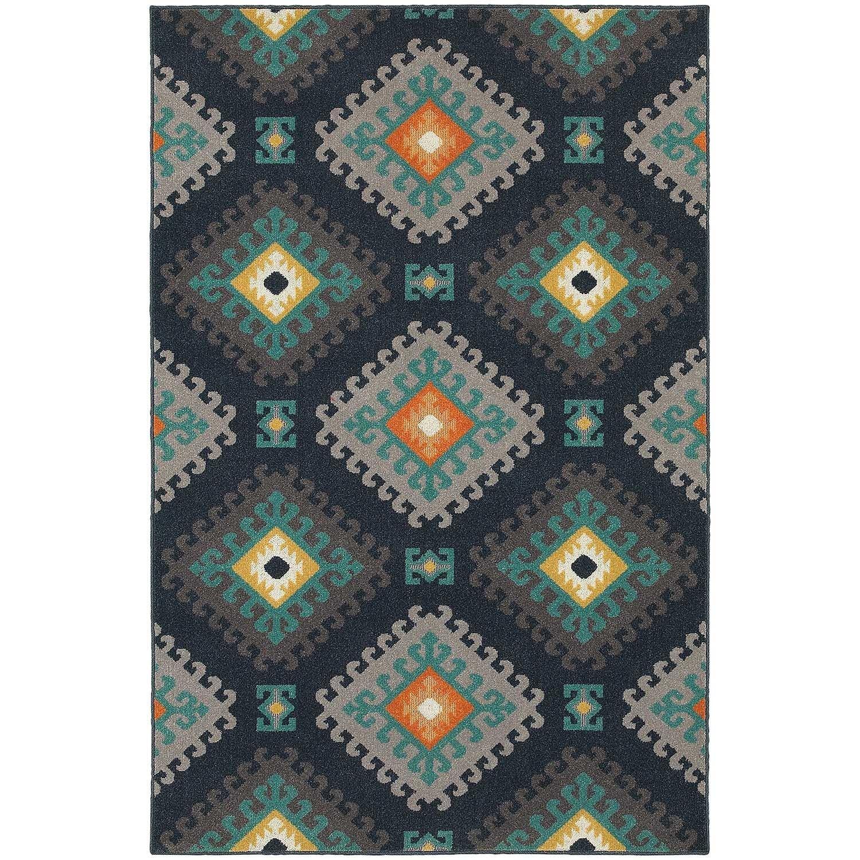 StyleHaven Tribal Navy/Grey Indoor-Outdoor Area Rug (710x1010) - 710 x 1010 (710 x 1010 - Navy/Grey)