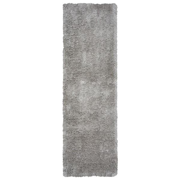Arden Loft Hand-tufted Grey Geometric Danbury Crossing Collection Microfiber Area Rug (2'6 x 10')