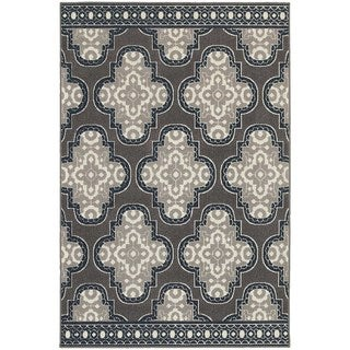 StyleHaven Quatrefoil Grey/Navy Indoor-Outdoor Area Rug (7'10x10'10)