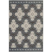 StyleHaven Quatrefoil Grey/Navy Indoor-Outdoor Area Rug - 8' x 10'