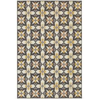 StyleHaven Panel Grey/Gold Indoor-Outdoor Area Rug (7'10x10'10)