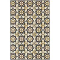 "StyleHaven Panel Grey/Gold Indoor-Outdoor Area Rug (7'10x10'10) - 7'10"" x 10'10"""