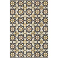StyleHaven Panel Grey/Gold Indoor-Outdoor Area Rug - 8' x 10'