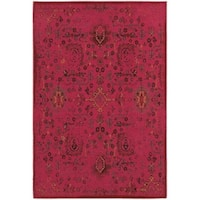 Traditional Distressed Overdyed Persian Pink/ Charcoal Rug - 8' x 10'