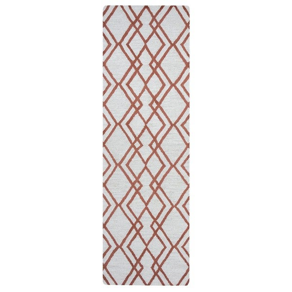 "Arden Loft Hand-tufted Natural Geometric Easley Meadow Collection Wool Area Rug - 2'6"" x 8'"