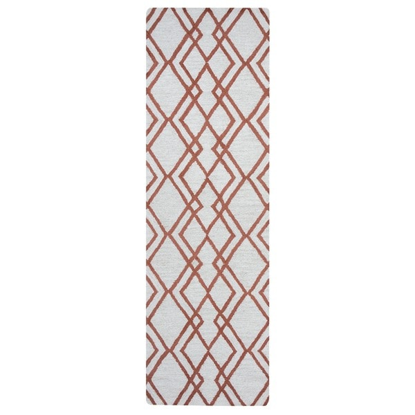 Arden Loft Hand-tufted Natural Geometric  Easley Meadow Collection Wool Area Rug (2'6 x 8')