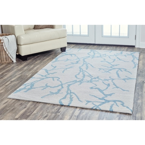 Arden Loft Hand-tufted Natural Geometric Easley Meadow Collection Wool Area Rug - 5' x 8'