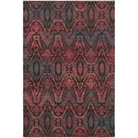 Overdyed Ikat Floral Brown/ Multi-colored Rug - 7'10 x 10'10